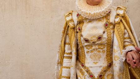festival moment: People costumed at Ducal Festival of Pastrana, Guadalajara. Historical reenactment of XVII century, the historical moment of greatest splendor
