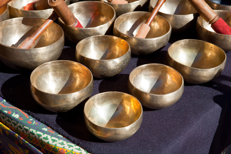 tibet bowls: Stall of tibetan Singing Bowls or Cup of life, popular product in Nepal, Tibet and India