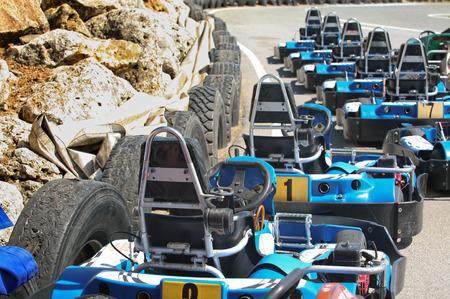 carting: Machine karts before the start on the circuit. Summer season Stock Photo