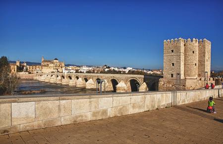 masonary: Calahorra Tower and roman bridge. At the bottom the Mosque of Cordoba, Spain Stock Photo