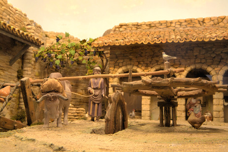 portal de belen: Popular español escena de Navidad de la natividad, de cerca
