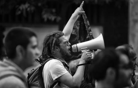 BADAJOZ, ESPAÑA - 29 de marzo: Huelga general en España, los sindicatos laborales en demostración marcha de protesta a la Reforma Laboral aprobada por el Gobierno de España el 29 de marzo de 2012 en España
