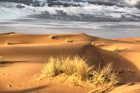 chebbi: Several sand hill at Erg Chebbi in the Sahara desert.  Ers are large dunes formed by wind-blown sand. Morocco Stock Photo