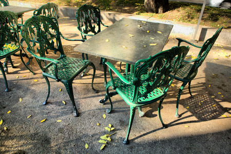 Iron terrace Furniture on the street cafe photo