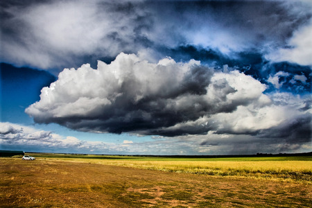 badajoz: Storm Clouds over cereals fields of Badajoz, Spain