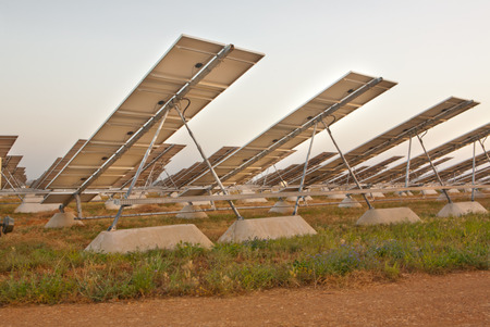nonpolluting: Solar photovoltaics panels field for  energy production at sunset,  Badajoz, Extremadura, Spain