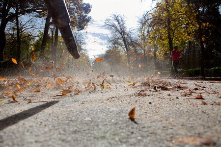 Worker in autumn with a leaf blower. Retiro park, Spain Standard-Bild