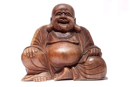 bouddha: Graisses Bois Bouddha souriant isolé sur fond blanc Banque d'images