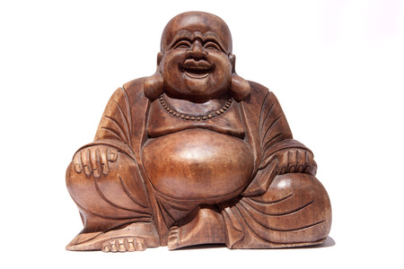 Wooden fat Smiling Buddha  isolated over white background
