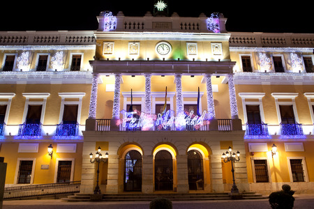 badajoz: Christmas led light decoration of Badajoz Town Hall at night, Spain