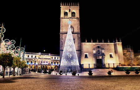 badajoz: Cathedral square with christmas led light tree, Badajoz, Spain