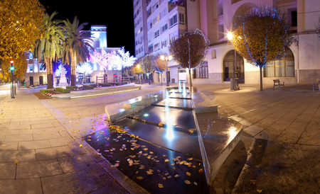 badajoz: Christmas led light decoration of Badajoz square, Spain. Panoramic view