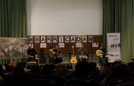 ZAFRA, SPAIN, MARCH:  unplugged performance of rock band Barricada during the Dulce Chacon writer memorial, March 19, 2010 in Zafra, Spain