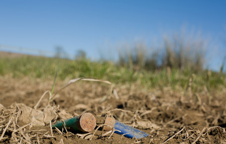 hunter's: Rusty spent shotgun cartridges on a medow floor. This is a bad behaviour of many hunters in Spain