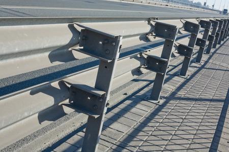 guard rail: Double rail guards on the bridge road Stock Photo