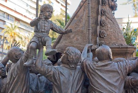 believers: Sculpture set carrying around the Virgin of El Rocio, Huelva, Spain. The image of the Virgin carried around by believers Stock Photo