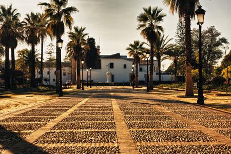 huelva: Monastery of La Rabida Gardens at sunset, Huelva, Spain