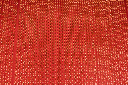 courtain: Red metallic aluminium string courtain as a background Stock Photo