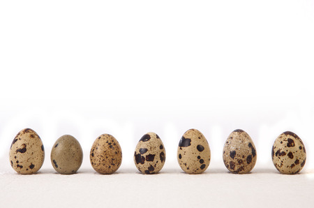 Group of quail eggs isolated on white background