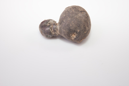 potatoe: One purple Vitelotte potatoe. Isolated over white background Stock Photo