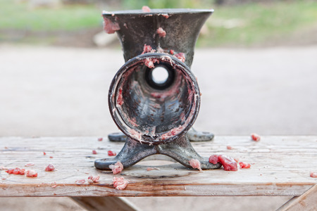 slaughtering: Manual mincer machine after being used. Traditional home slaughtering in a rural area, Extremadura, Spain