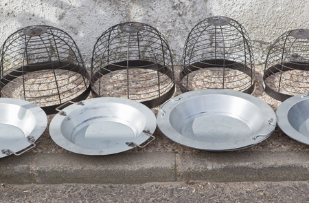 Brass braziers for sell on traditional rural street market