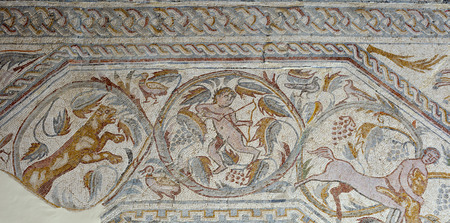 polychrome: Roman polychrome mosaic of Century VI AC with the representation of a winged Victoria a chariot