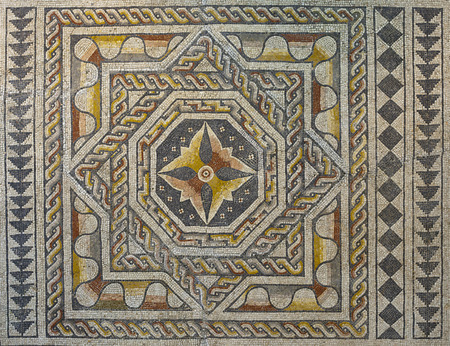 hundreds and thousands: Roman polychrome mosaic of Century VI AC with geometrical shapes
