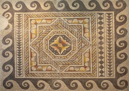 polychrome: Roman polychrome mosaic of Century VI AC with geometrical shapes