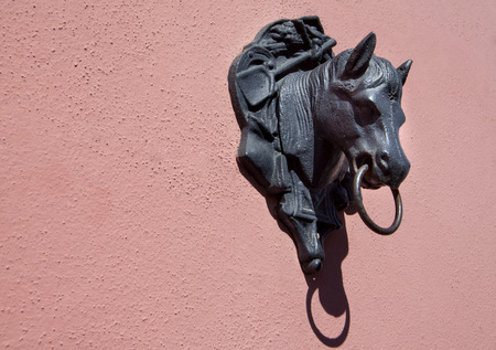 horse andalusian horses: Horse head figurine atached on the wall, Andalusia, Spain