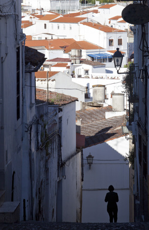 stronghold: Streets of Jerez de los Caballeros, Spain. Famous village with mudejar towers and Templar stronghold