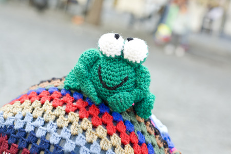 badajoz: Hand crocheted figurines showing Badajoz Spain. Crochet frog