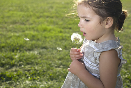 three years old: Toddler playing and blowing on a dandelion over green background. Three years old