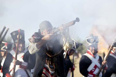 troops: BADAJOZ SPAIN  MAY 9: Reenactment of Albuera battle between French and allied nations armies in 1811. May 9 2015 in La Albuera Badajoz Spain. Spanish bandit or bandolero fighting between allied troops