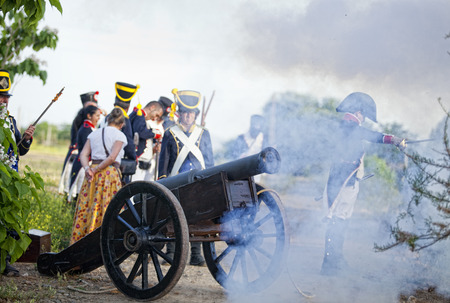 allied: BADAJOZ SPAIN  MAY 9: Reenactment of Albuera battle between French and allied nations armies in 1811. May 9 2015 in La Albuera Badajoz Spain. Napoleonic artillery Editorial