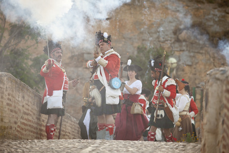 allied: BADAJOZ SPAIN  MAY 9: Reenactment of Albuera battle between French and allied nations armies in 1811. May 9 2015 in La Albuera Badajoz Spain Editorial