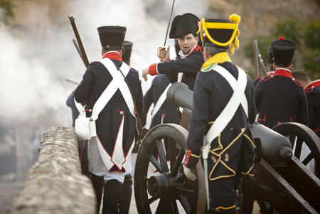allied: BADAJOZ SPAIN  MAY 9: Reenactment of Albuera battle between French and allied nations armies in 1811. May 9 2015 in La Albuera Badajoz Spain. Moving forward the artillery