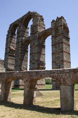 buttresses: Fountain beside the aqueduct of Los Milagros, Merida, Spain