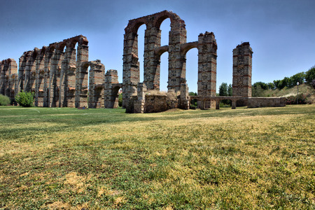 buttresses: Roman Aqueduct of Merida Los Milagros from west side. Extremadura, Spain