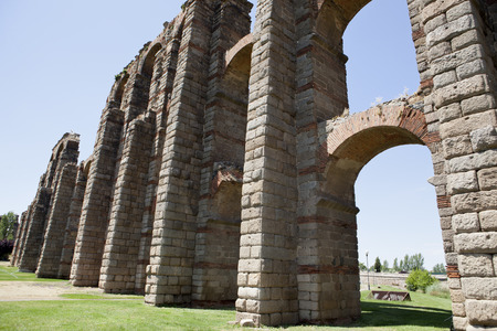 buttresses: Roman Aqueduct of Merida Los Milagros. Extremadura, Spain. East side