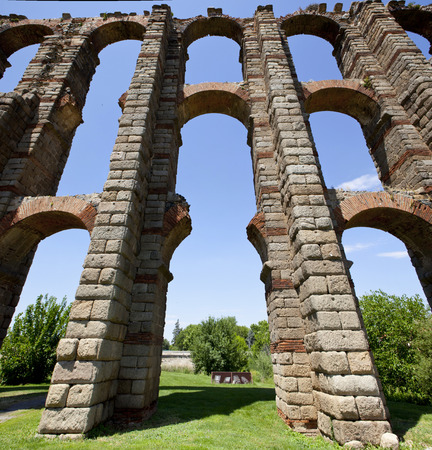buttresses: Vertical panoramic view of Roman Aqueduct Los Milagros, Merida, Spain. East side