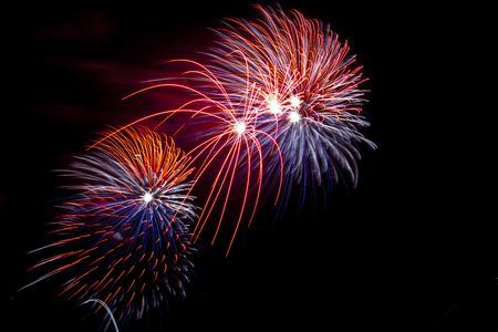 festivity: Colorful fireworks at San Juan night festivity, Spain