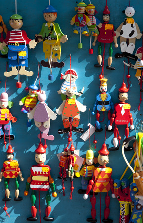 puppets: Puppets hanging for sell at Marbella downtown, Spain Stock Photo