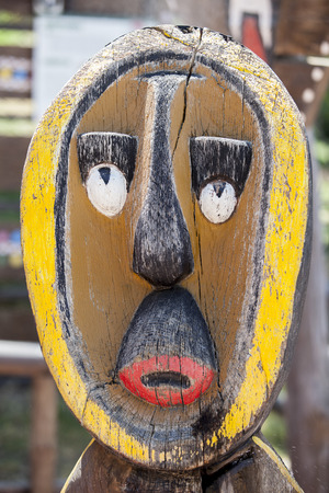 african mask: Wooden painted african mask. Outdoors shot