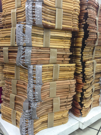 loads: Loads of wooden hangers for sell at shop