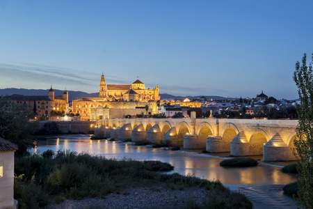masonary: Roman bridge and Mosque of Cordoba over Guadalquivir river, Cordoba, Spain. Night scene Stock Photo