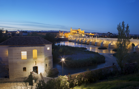 masonary: Saint Antonio Watermill on the Guadalquivir in Cordoba, Spain. Night scene with some couples sitting and the Mosque at bottom Stock Photo