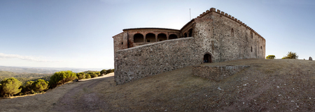 badajoz: Tentudia monastery. Raised at 13th century, Badajoz, Spain. Panoramic view