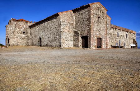 monastery nature: Tentudia monastery, raised in commemoration of a legendary battle against moorish troops 13th century, Badajoz, Spain