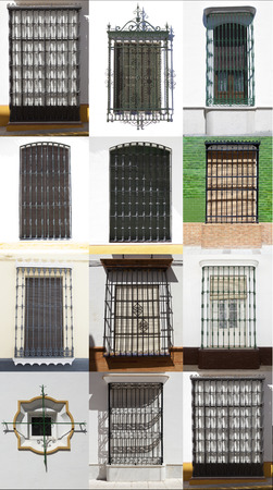 mediterranean homes: Traditional andalusian wrought iron windowS, Moguer, Spain Stock Photo